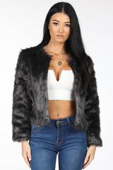 Grey Shaggy Faux Fur Collarless Cropped Jacket