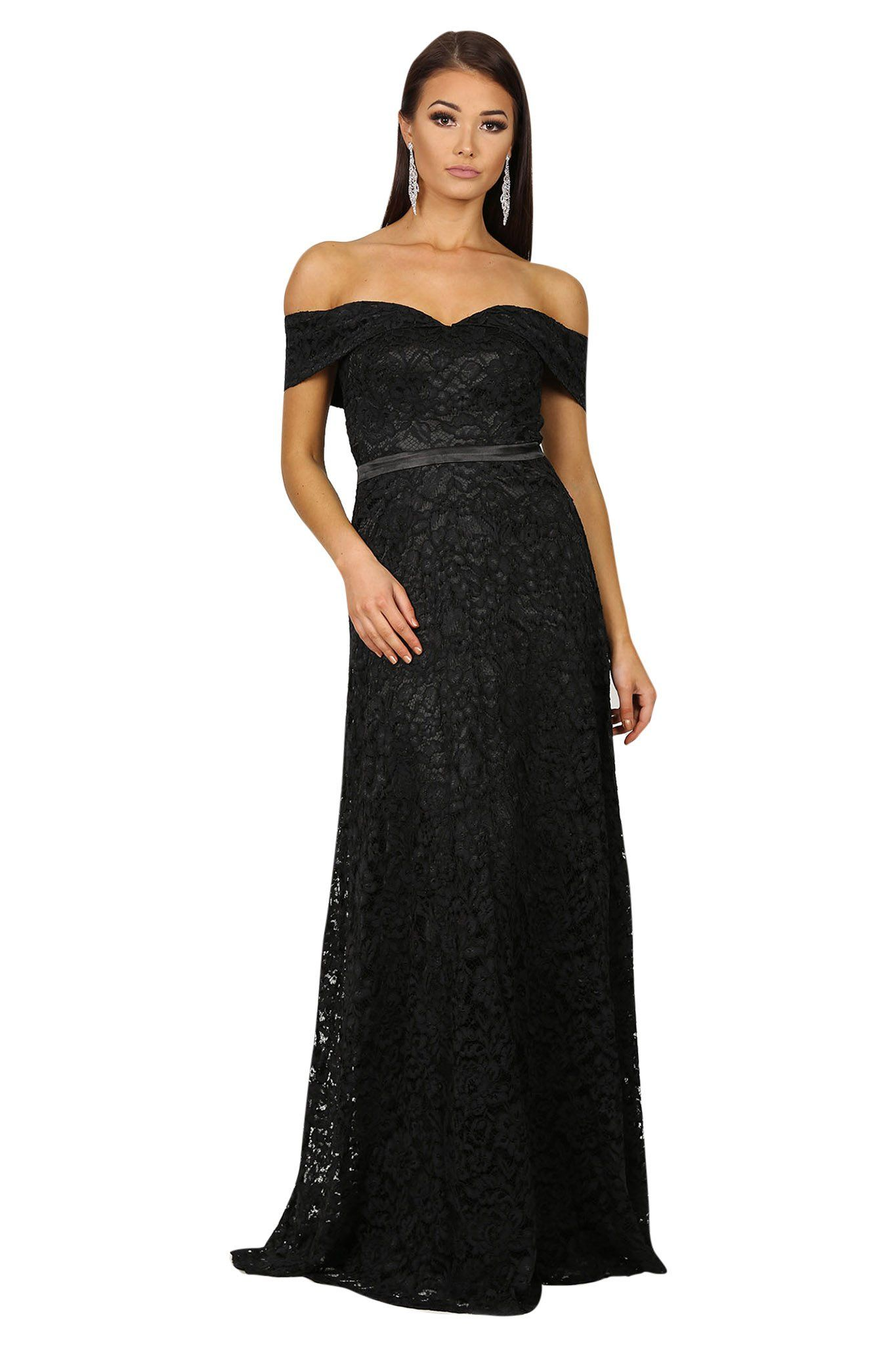 Black lace off the shoulder floor length A-line gown with sweetheart neckline and satin belt