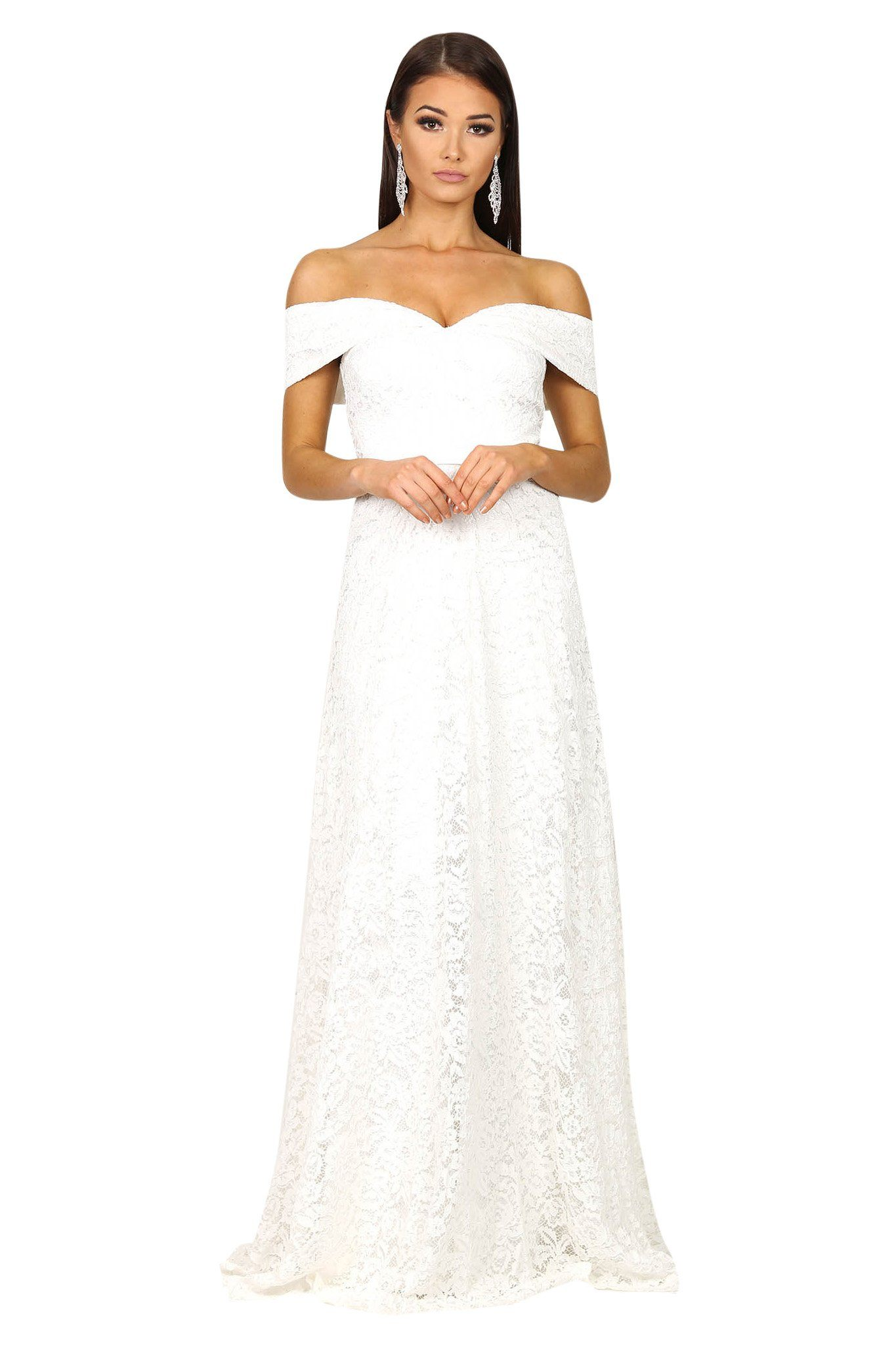 White lace off the shoulder floor length A-line gown with sweetheart neckline and satin belt