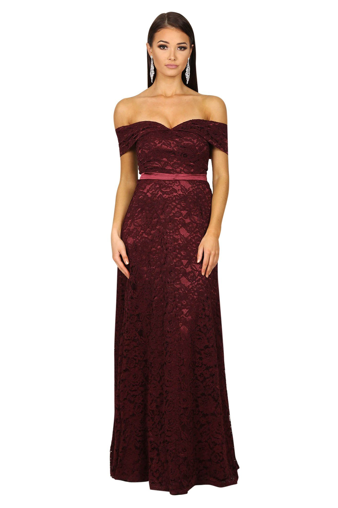 Wine Red lace off the shoulder floor length A-line gown with sweetheart neckline and satin belt