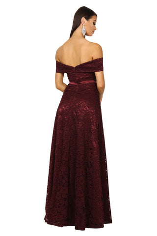 Shayna Lace Gown - Wine