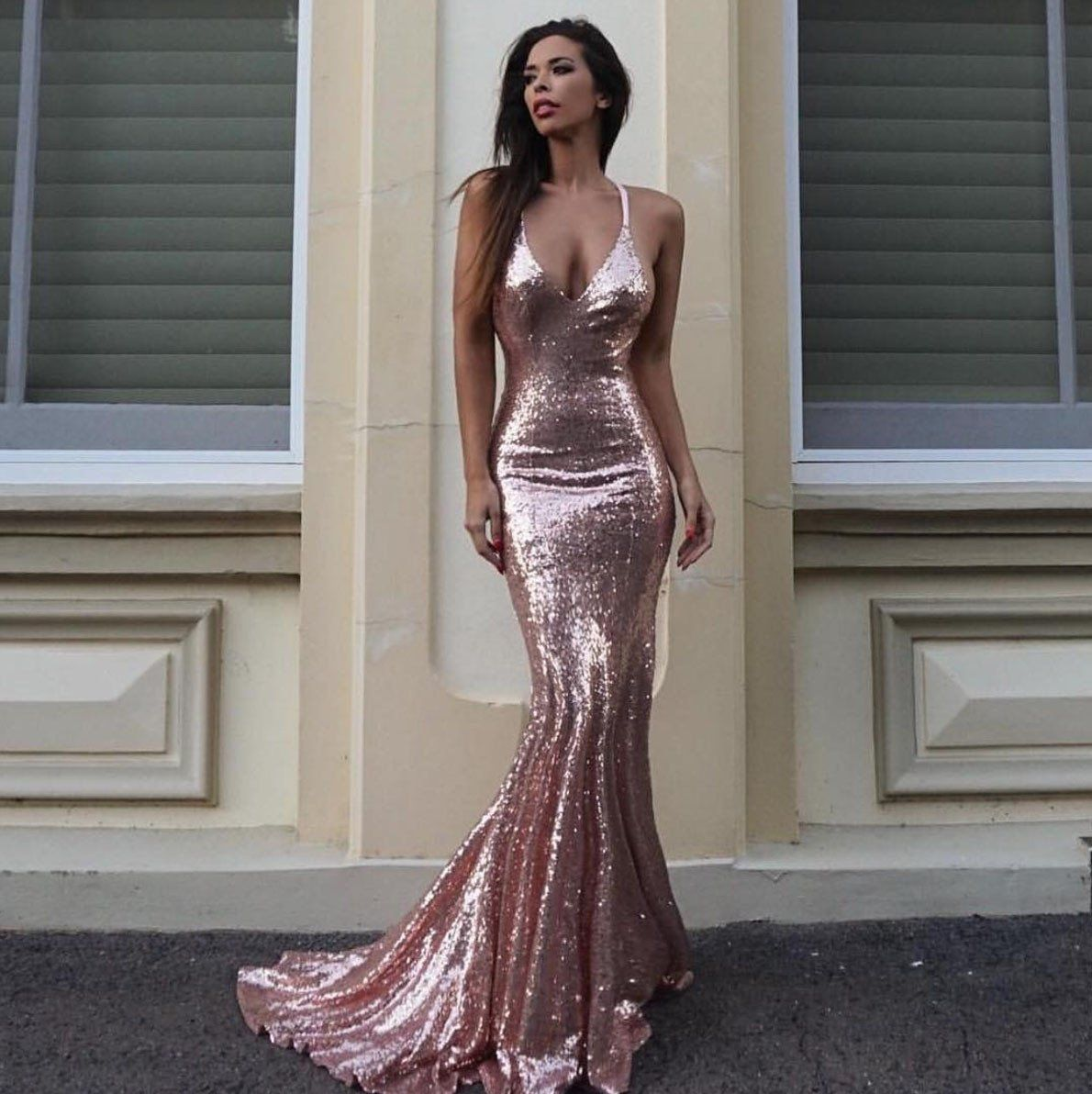 b66960d5 ... Shiralee Coleman wearing Estelle Sequin Gown in Rose Gold by Noodz  Boutique ...