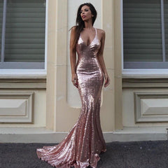 Shiralee Coleman wearing Estelle Sequin Gown in Rose Gold by Noodz Boutique