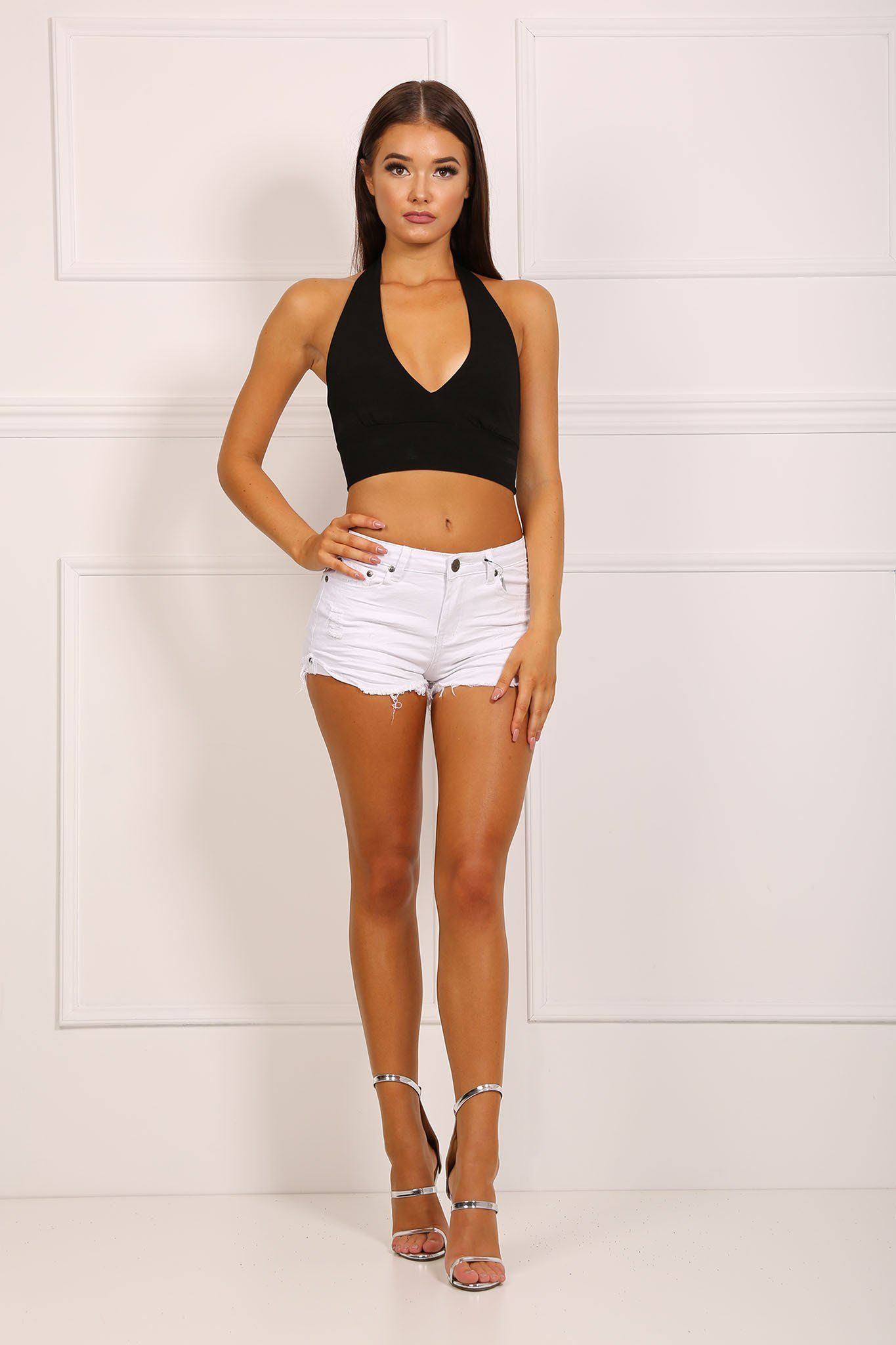 White Mid Rise Hotpants Distressed Ripped Design