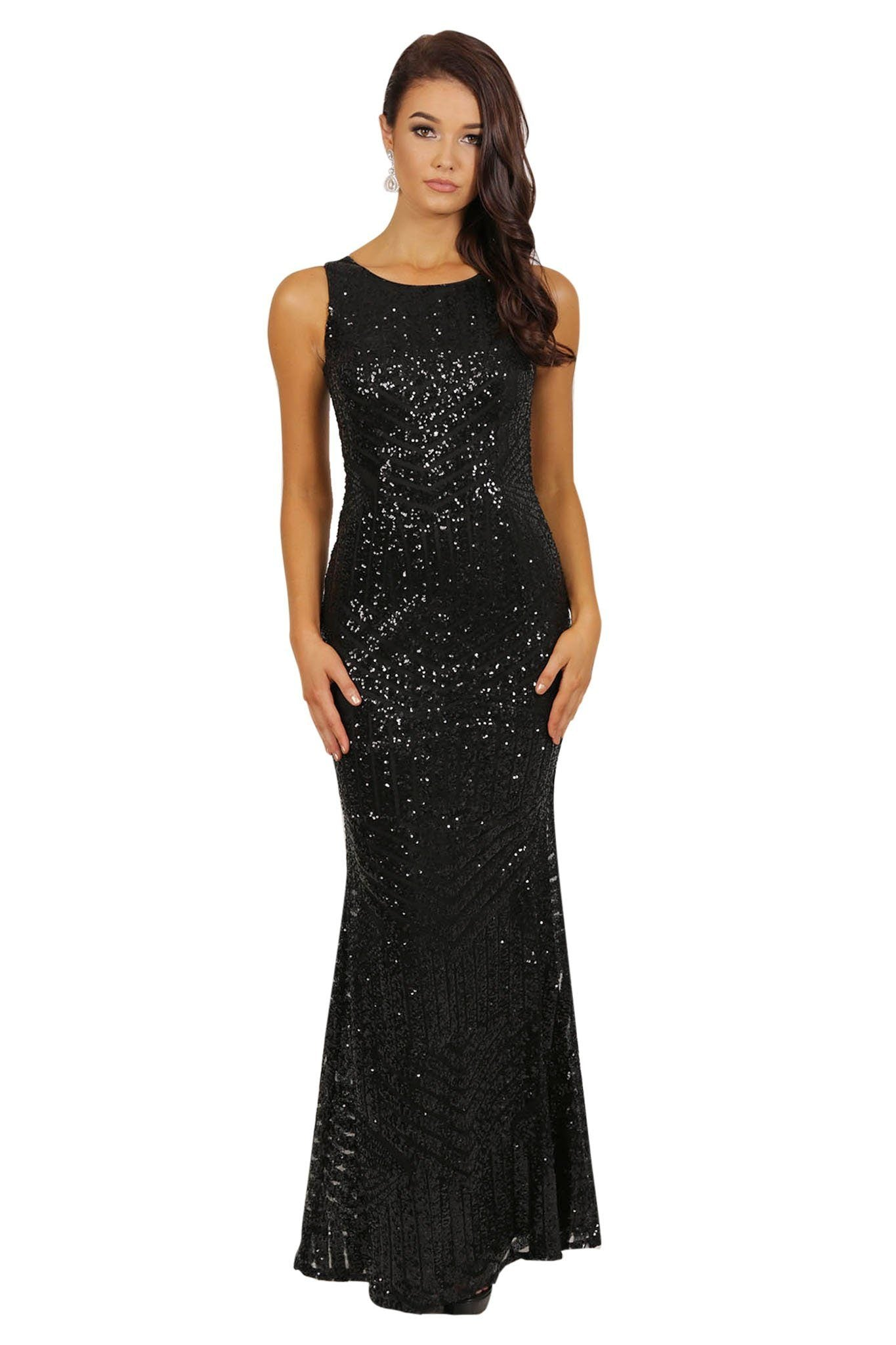 Black sequin sleeveless maxi fitted dress scoop neckline hollow back cutout design