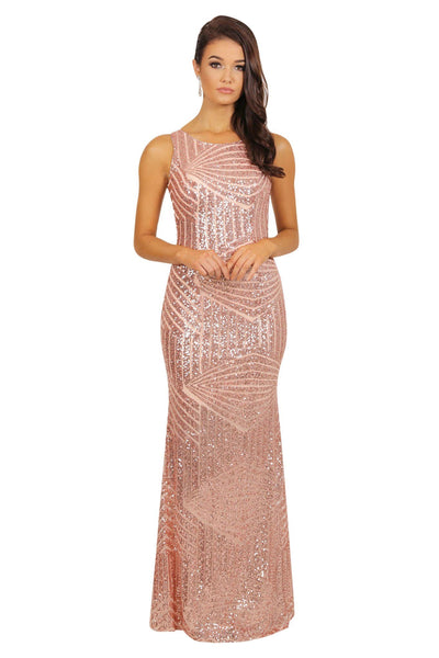 Sienna Sequin Dress - Rose Gold