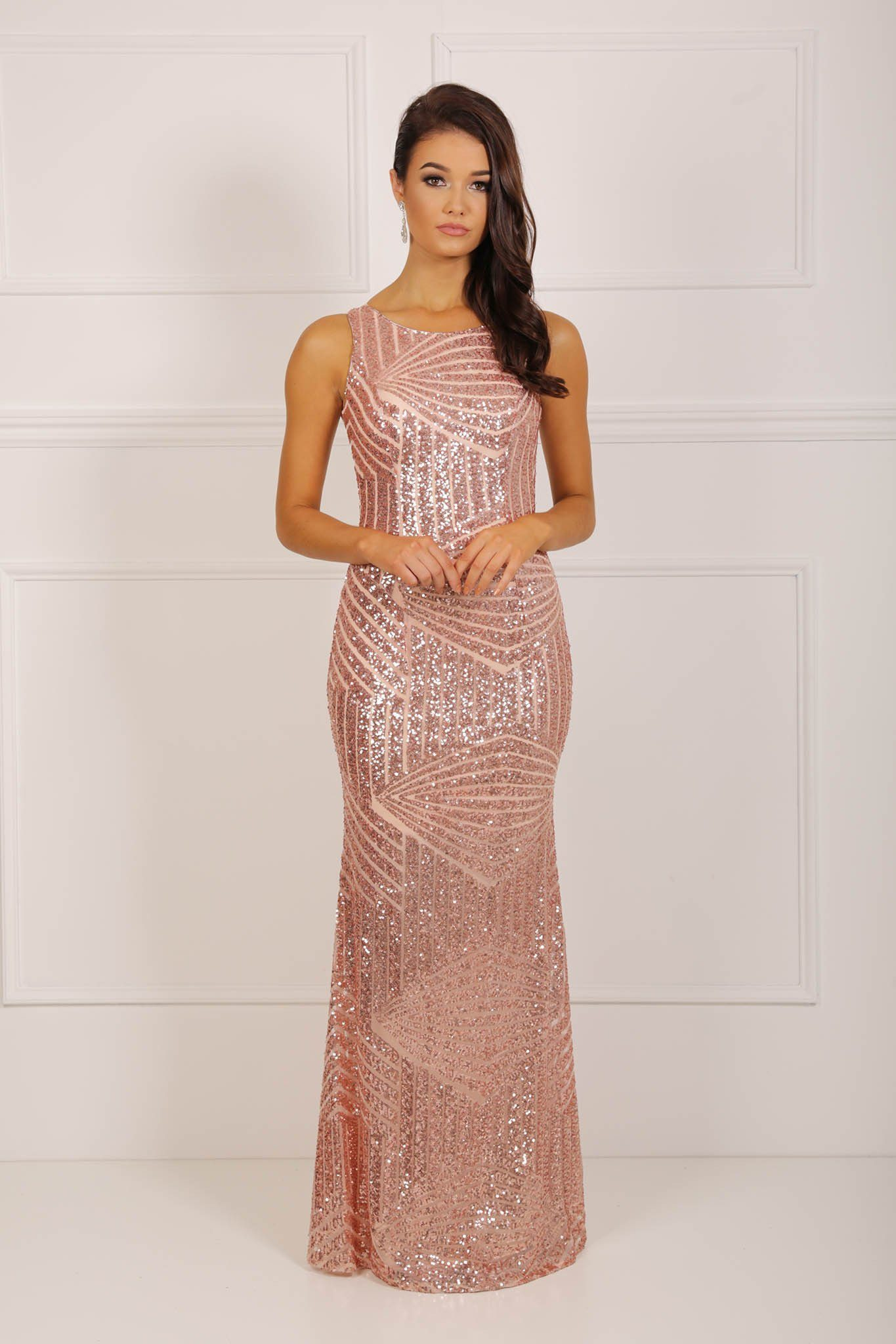 Rose gold sequin sleeveless maxi dress scoop neckline hollow back cutout design