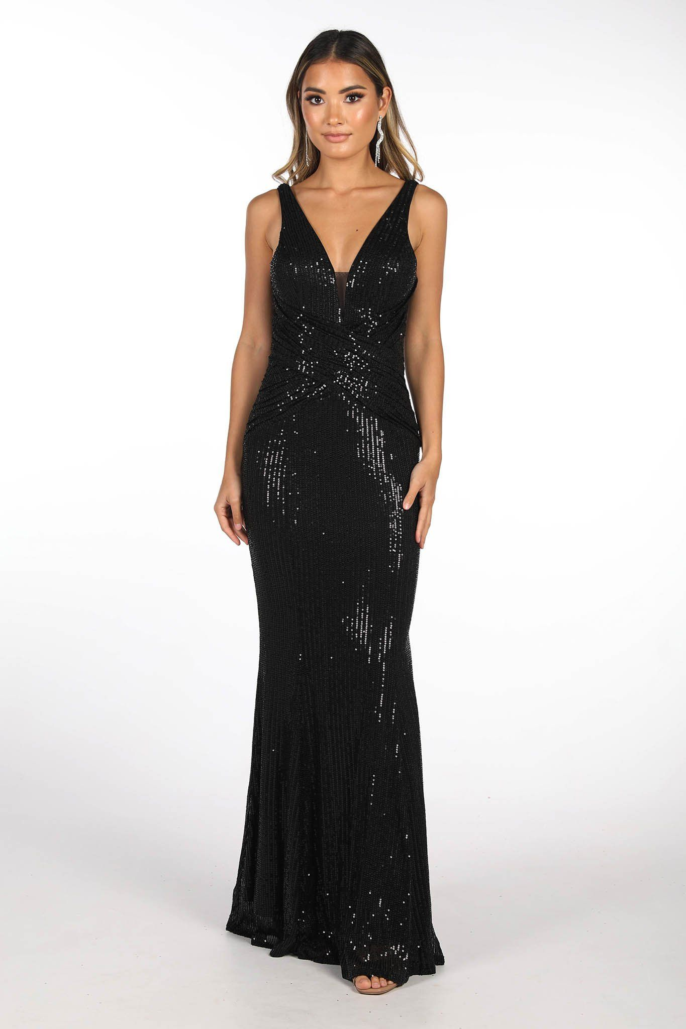 Black Full Length Sequin Evening Gown featuring V Neckline with mesh insert at bust, Gathering Detail at the centre front and Open V Back