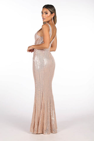 Sierra Sequin Gown in Rose Gold