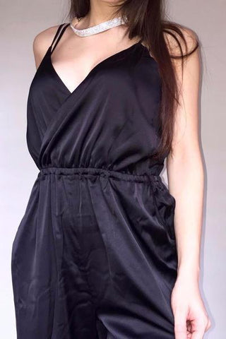 Silky Satin Jumpsuit - Black