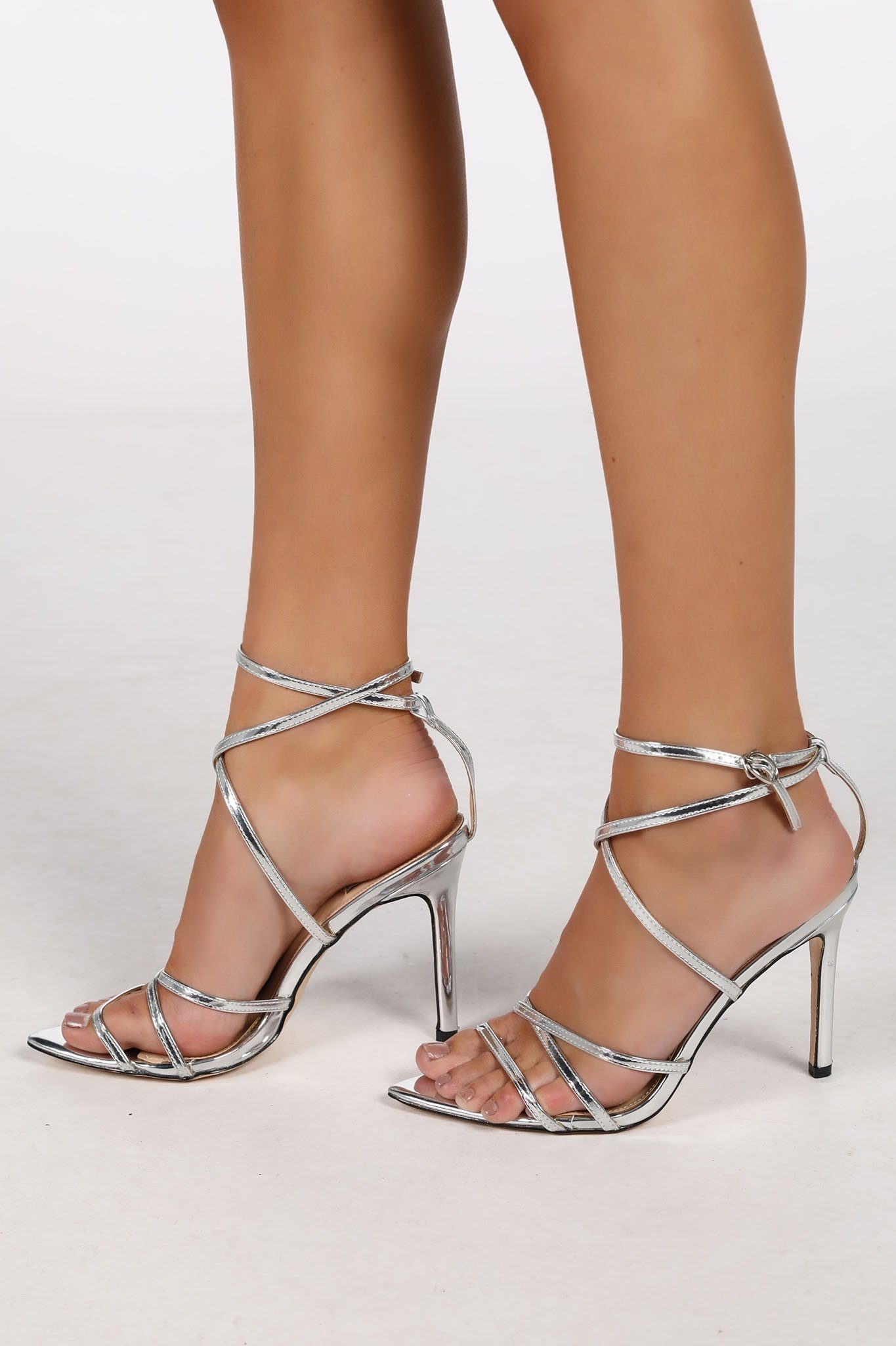 Strappy High Heel Sandals Silver