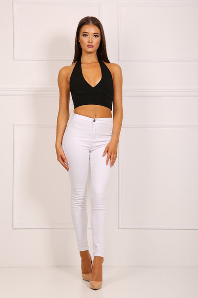 Mid Waist Skinny Jeans - White