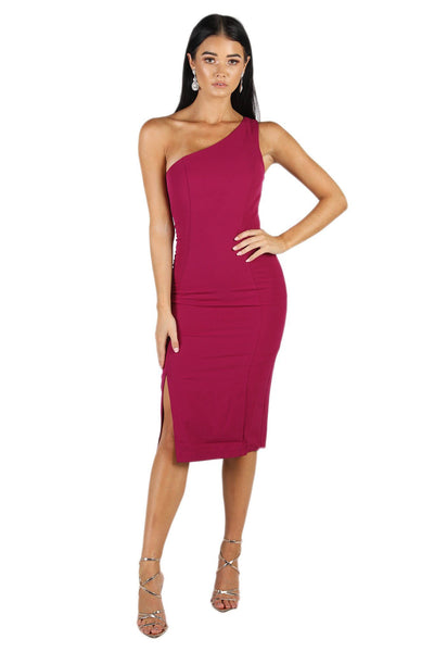 Skye One Shoulder Midi Dress - Fuchsia