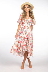 Pink and Orange Floral Print Flowy Midi Dress with Wrap Around Design, V Neckline, Frilled Sleeves and Frilled Skirt Hem