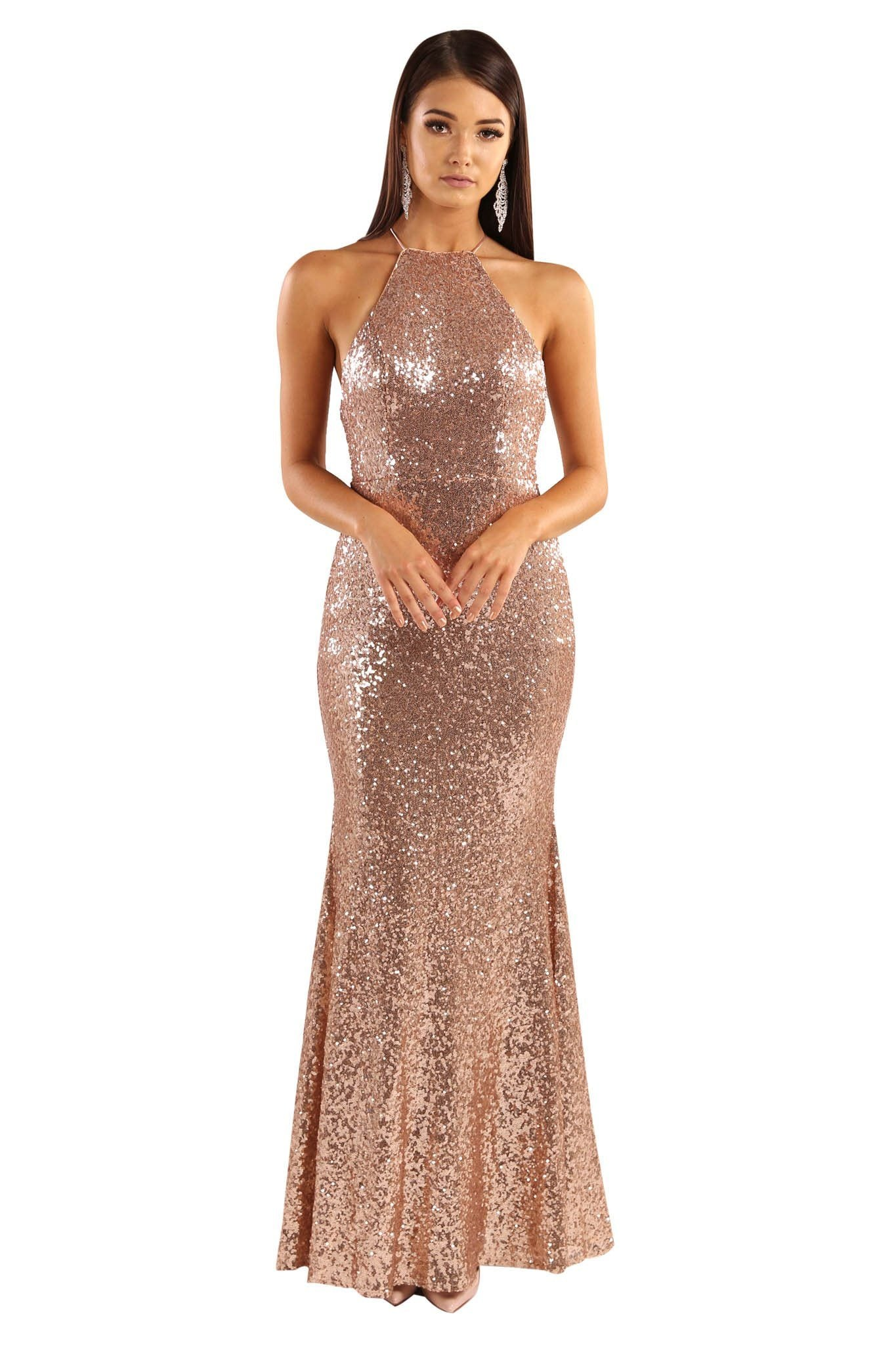 a402630c Rose Gold sequin sleeveless fitted maxi floor length dress features lace-up  on open back