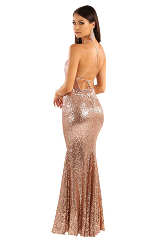 Stella Sequin Maxi Dress - Rose Gold