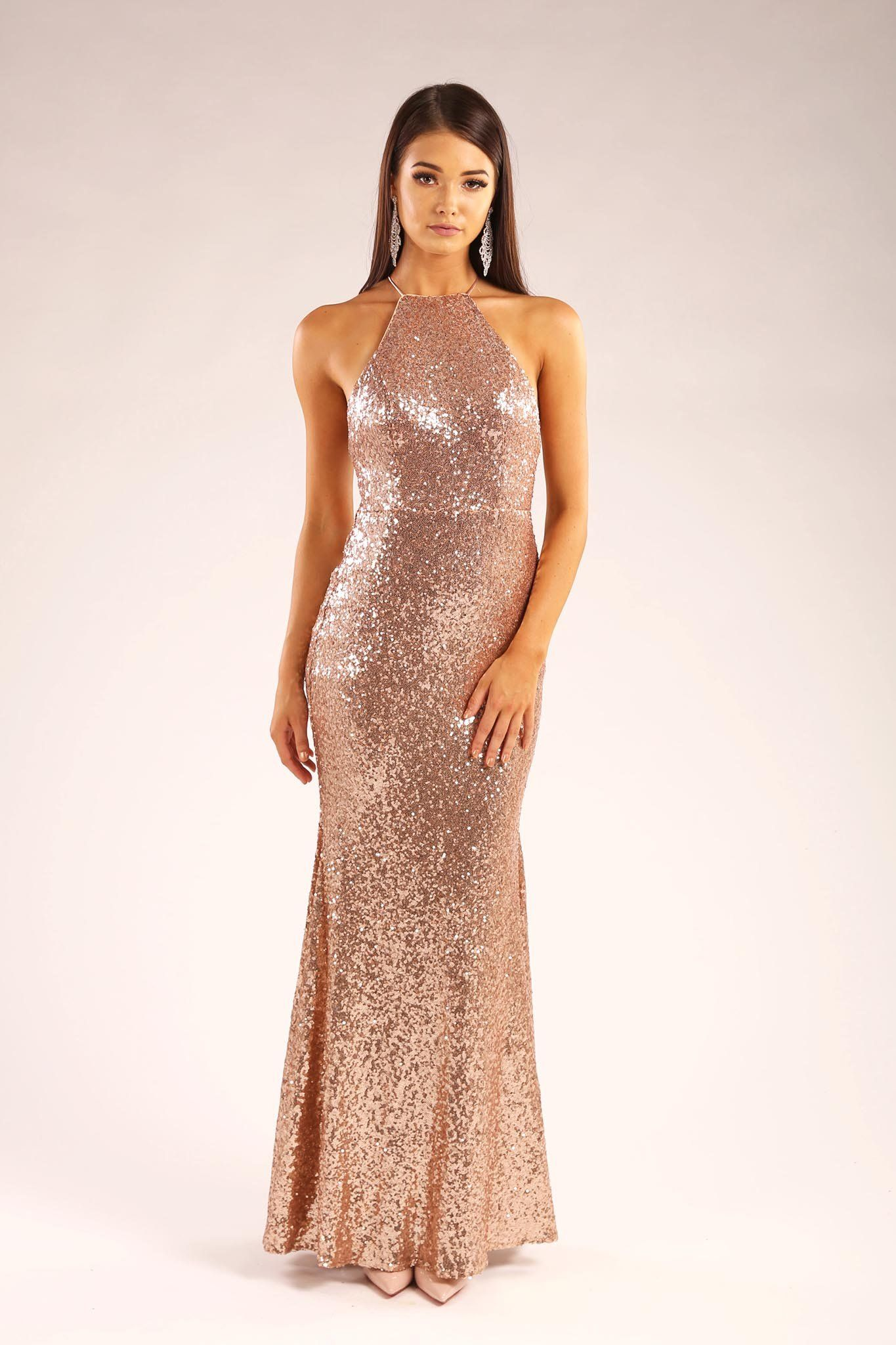 d3cfaaac1945a ... Rose Gold metallic sequin sleeveless fitted maxi dress with lace up  open back design ...