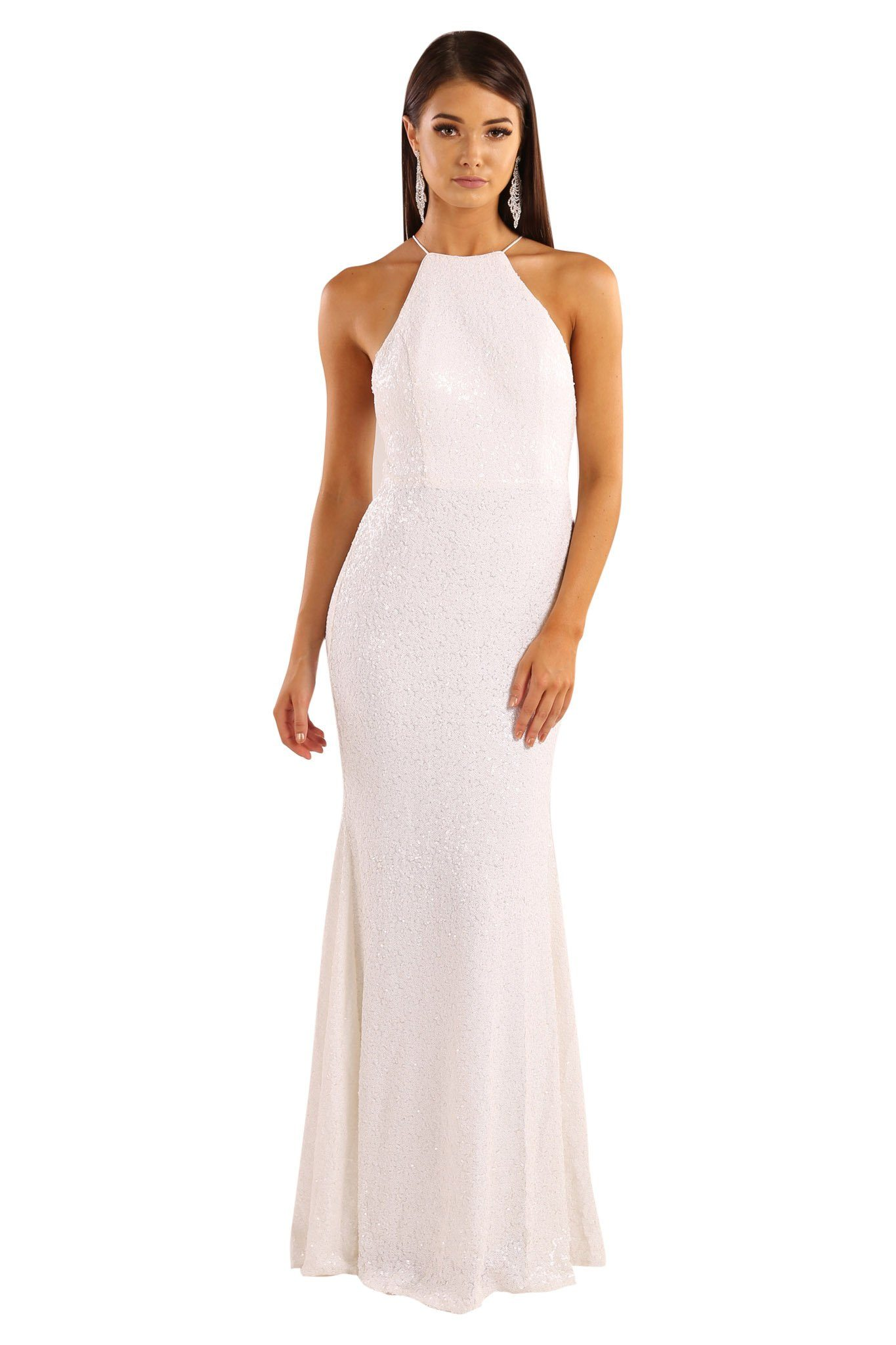 White sequin sleeveless fitted maxi floor length dress features lace-up on open back design