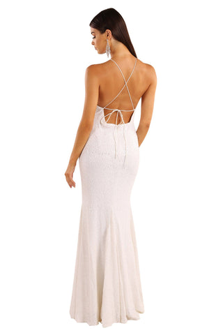 Stella Sequin Maxi Dress - White