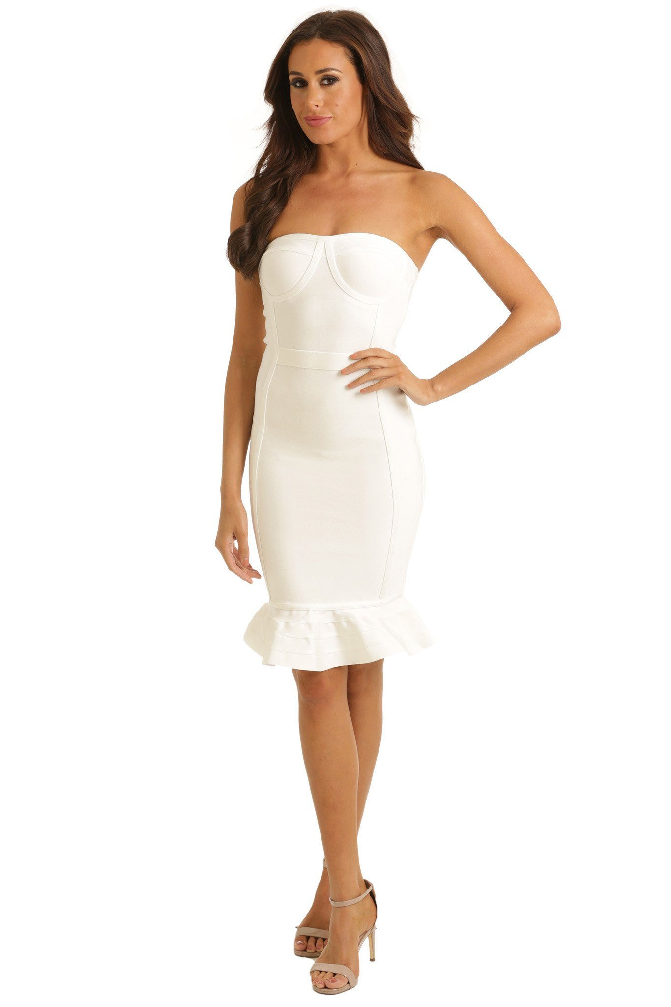 White strapless bodycon midi bandage dress with sweetheart neckline and fluted hem