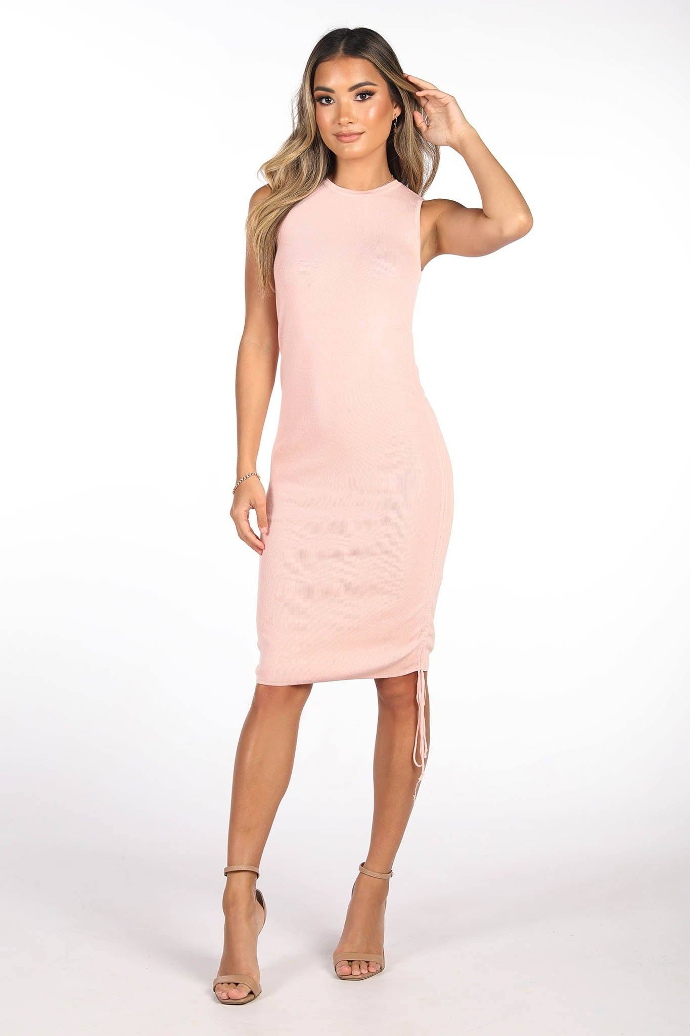 Light Pink Sleeveless Knit Dress with Crew Neckline and Ruching/Tie-up Drawstrings on the side that can be adjusted to mini or midi dress