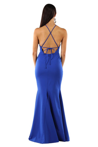 Tamara Lace Up Back Maxi Dress - Royal Blue