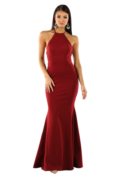 Tamara Lace Up Back Maxi Dress - Wine