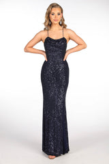 Deep Navy Blue Floor Length Sequin Gown featuring Round Neckline with Gathering Detail at Bust, Side Leg Slit, Thin Shoulder Straps and Lace Up Back