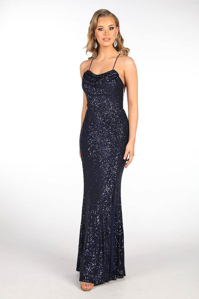 Tessa Sequin Gown - Navy
