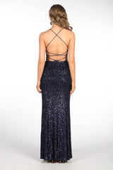 Lace Up on Open Back Design of Deep Navy Blue Floor Length Sequin Gown featuring Round Neckline with Gathering Detail at Bust, Side Leg Slit, Thin Shoulder Straps