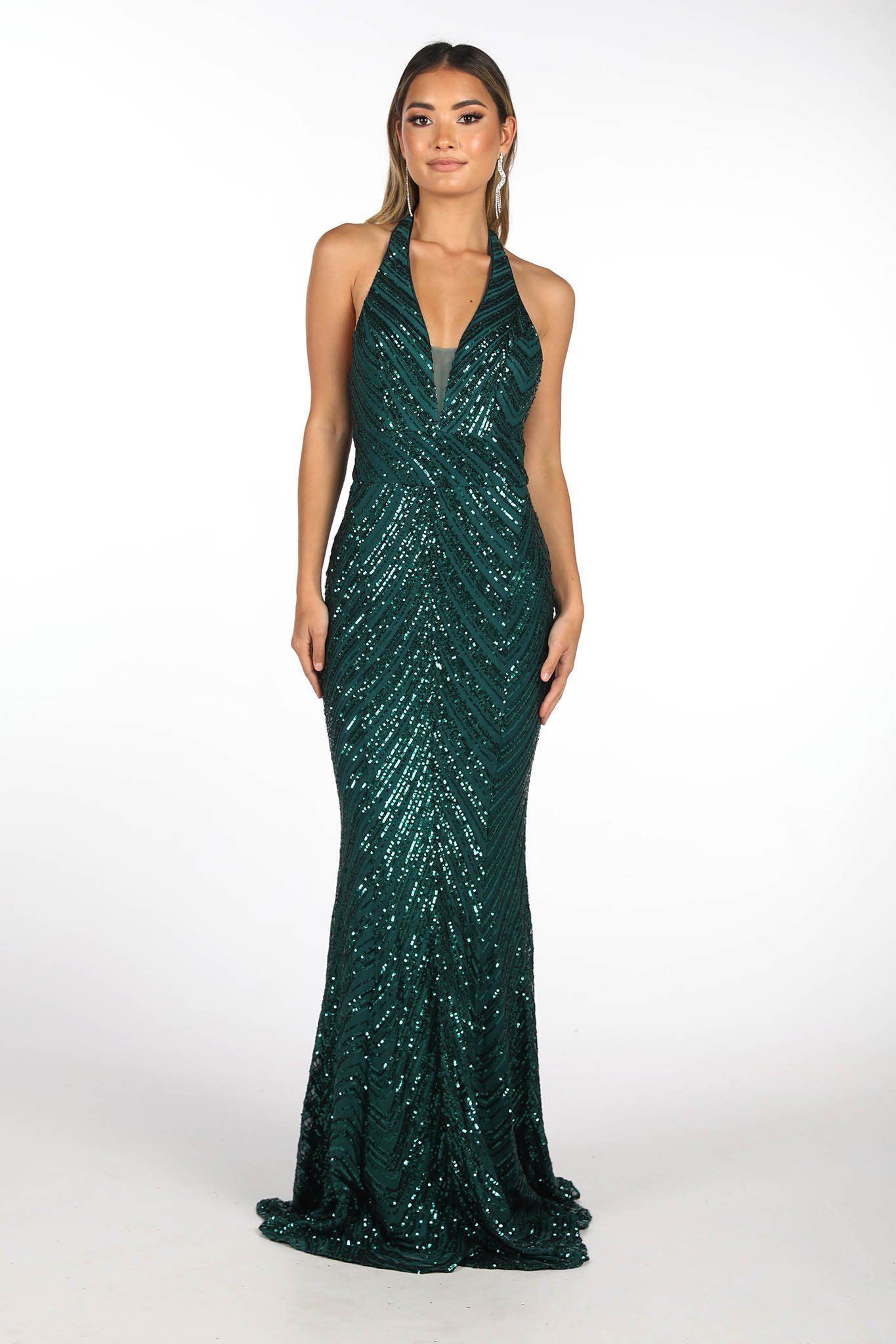 Emerald Green Full Length Sequin Evening Gown featuring Halterneck Design with Mesh Insert at bust and Open Back