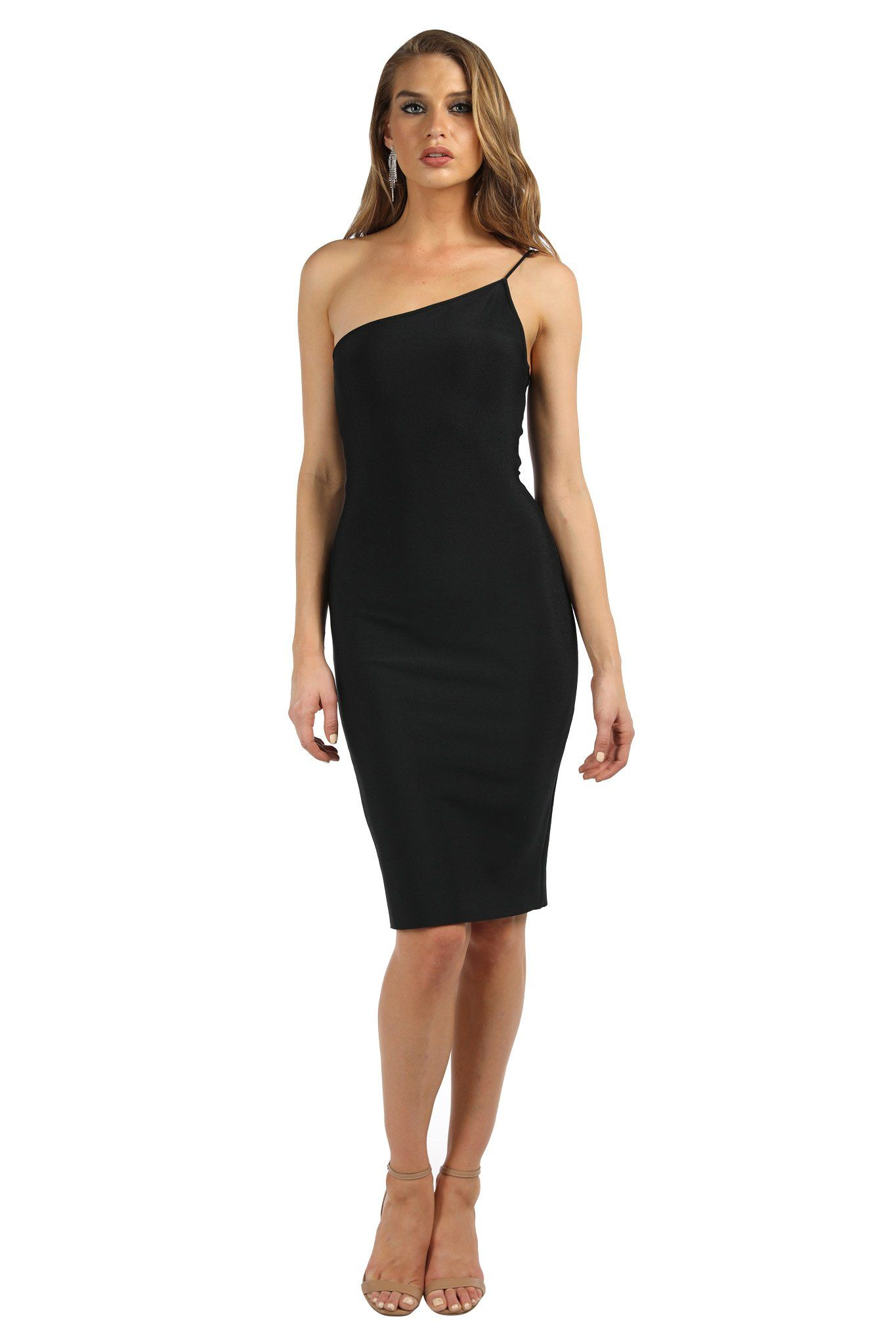 Black sleeveless below knee length tight fitted bandage dress with one shoulder thin strap