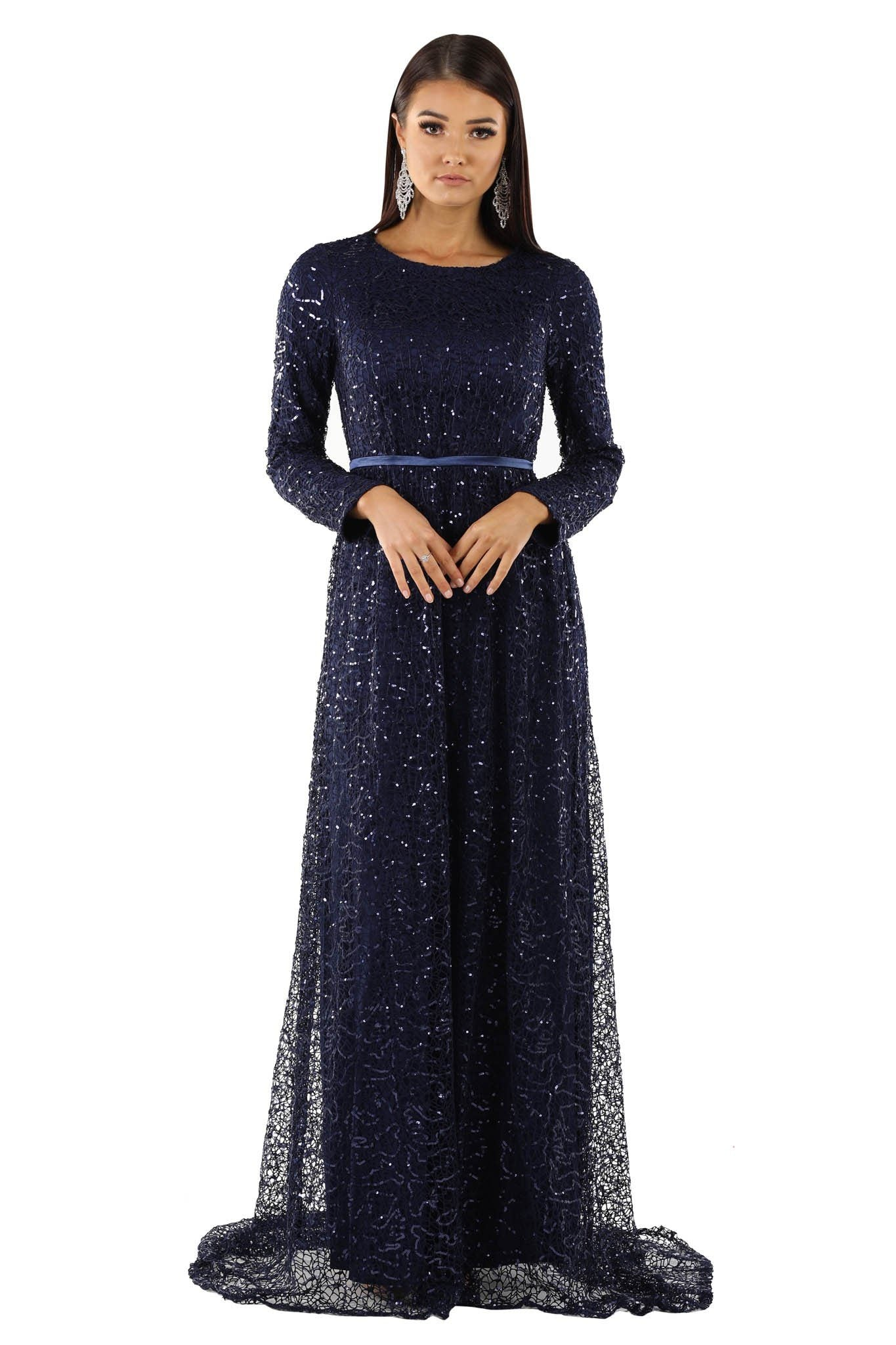 Navy deep blue sequin long sleeve evening gown with boat neck and satin belt