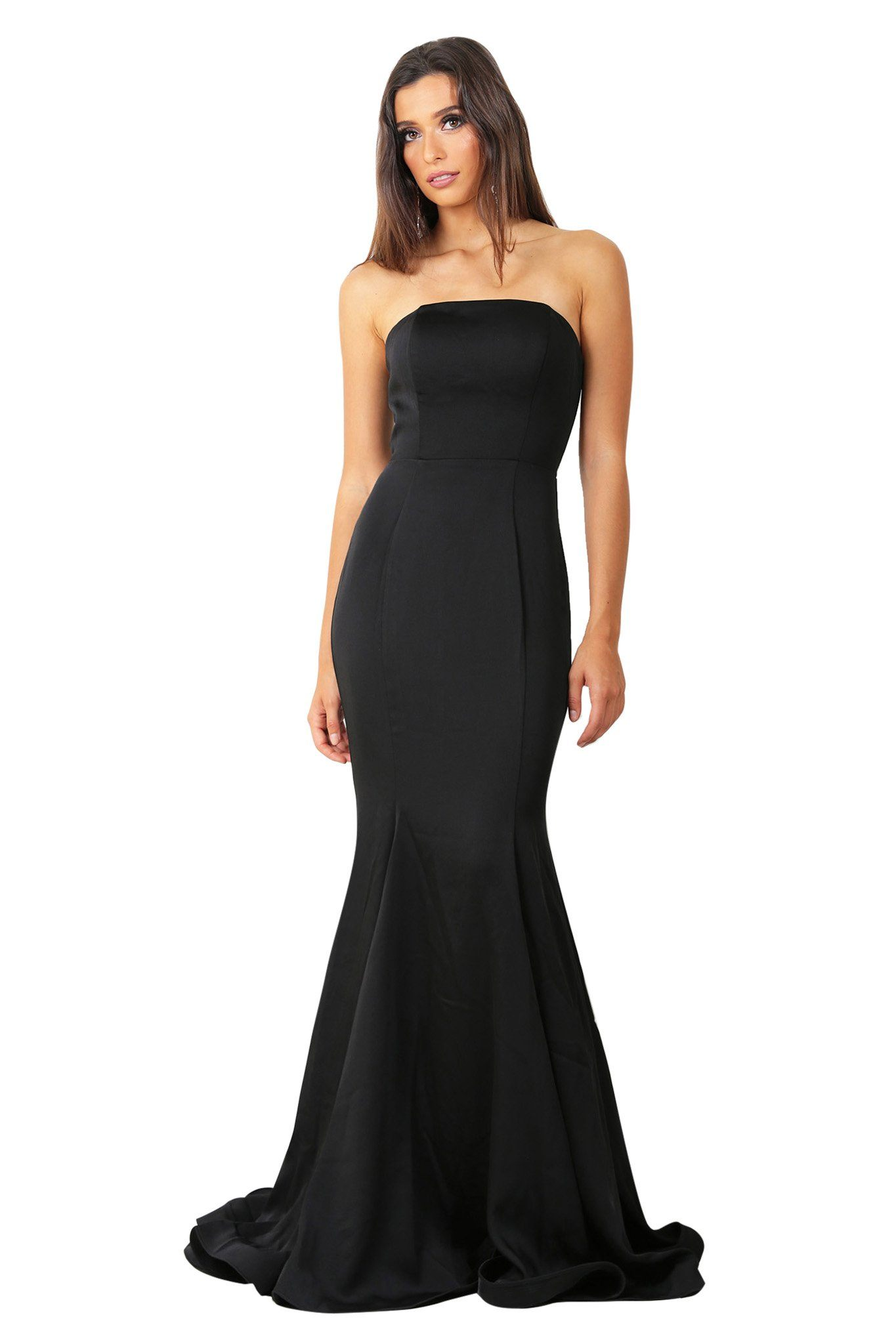 ddfb582373534 Black strapless straight neckline boned bodice fitted evening gown with  floor sweeping train
