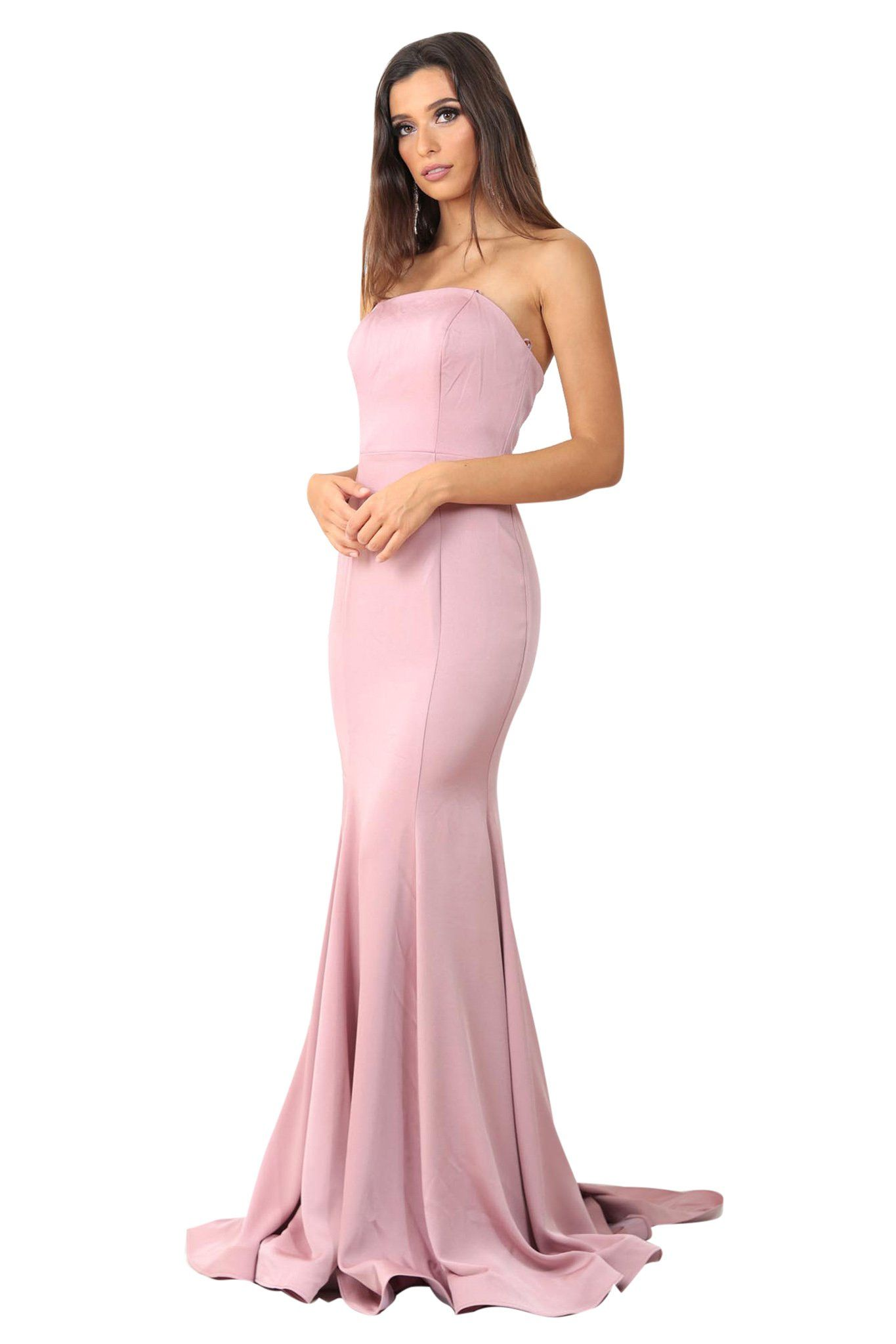 Blush pink strapless straight neckline boned bodice fitted evening gown with floor sweeping train