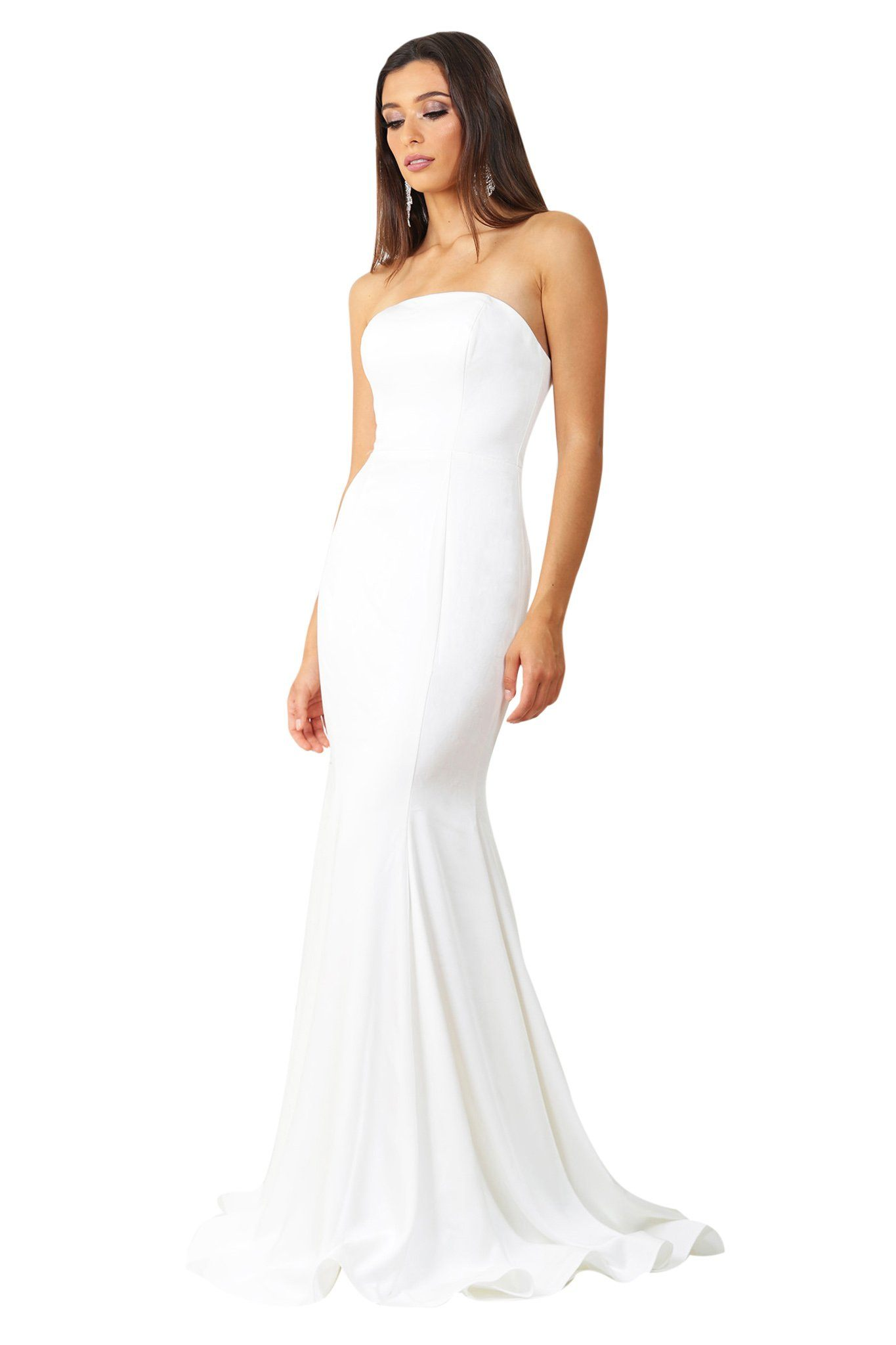 White strapless straight neckline boned bodice fitted evening gown with floor sweeping train