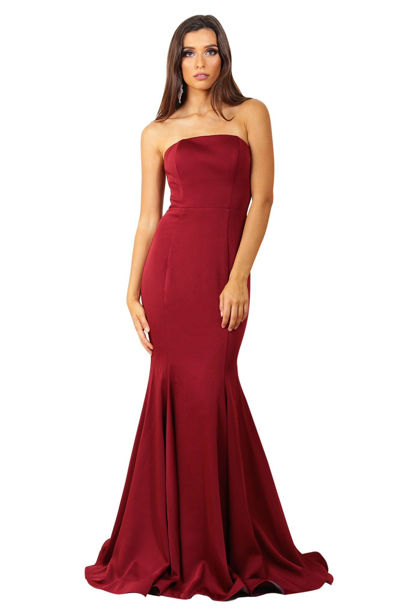 Wine red colored strapless straight neckline boned bodice fitted evening gown with floor sweeping train