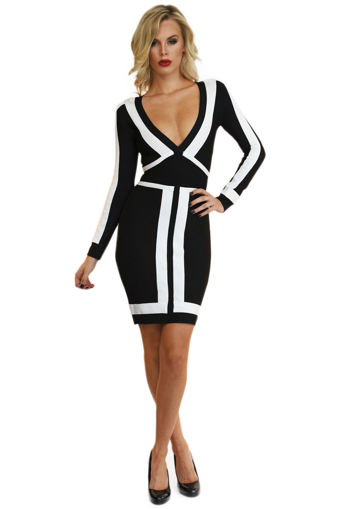 Front of black & white color block long sleeve bandage dress deep v neck