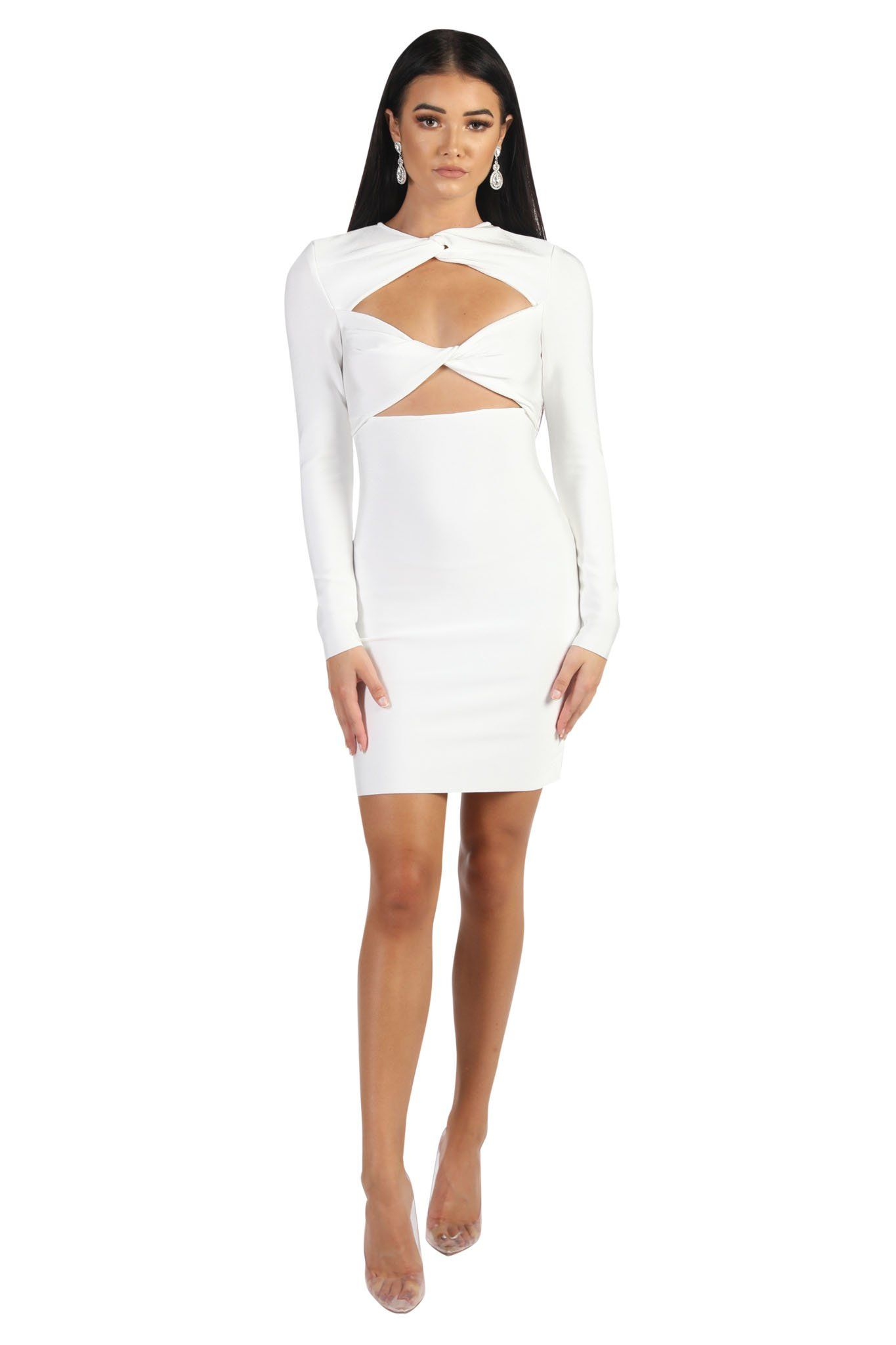 White mini bandage dress with midriff cutouts and long sleeves