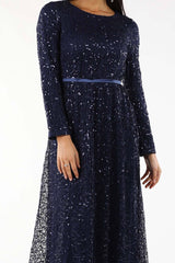 Virginia Long Sleeve Gown - Navy