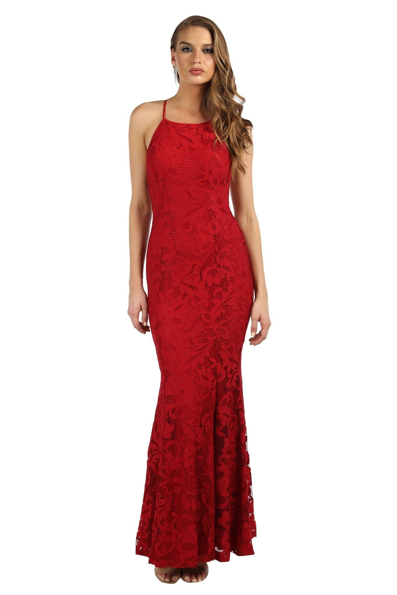 Maroon deep red lace fitted maxi dress with high neckline design, self-tie lace up back strings on exposed back and gently flared skirt