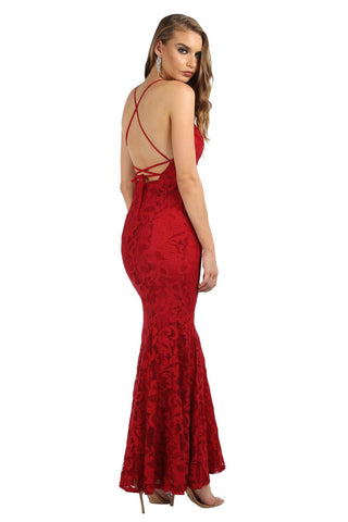 Vivian Lace Gown - Maroon