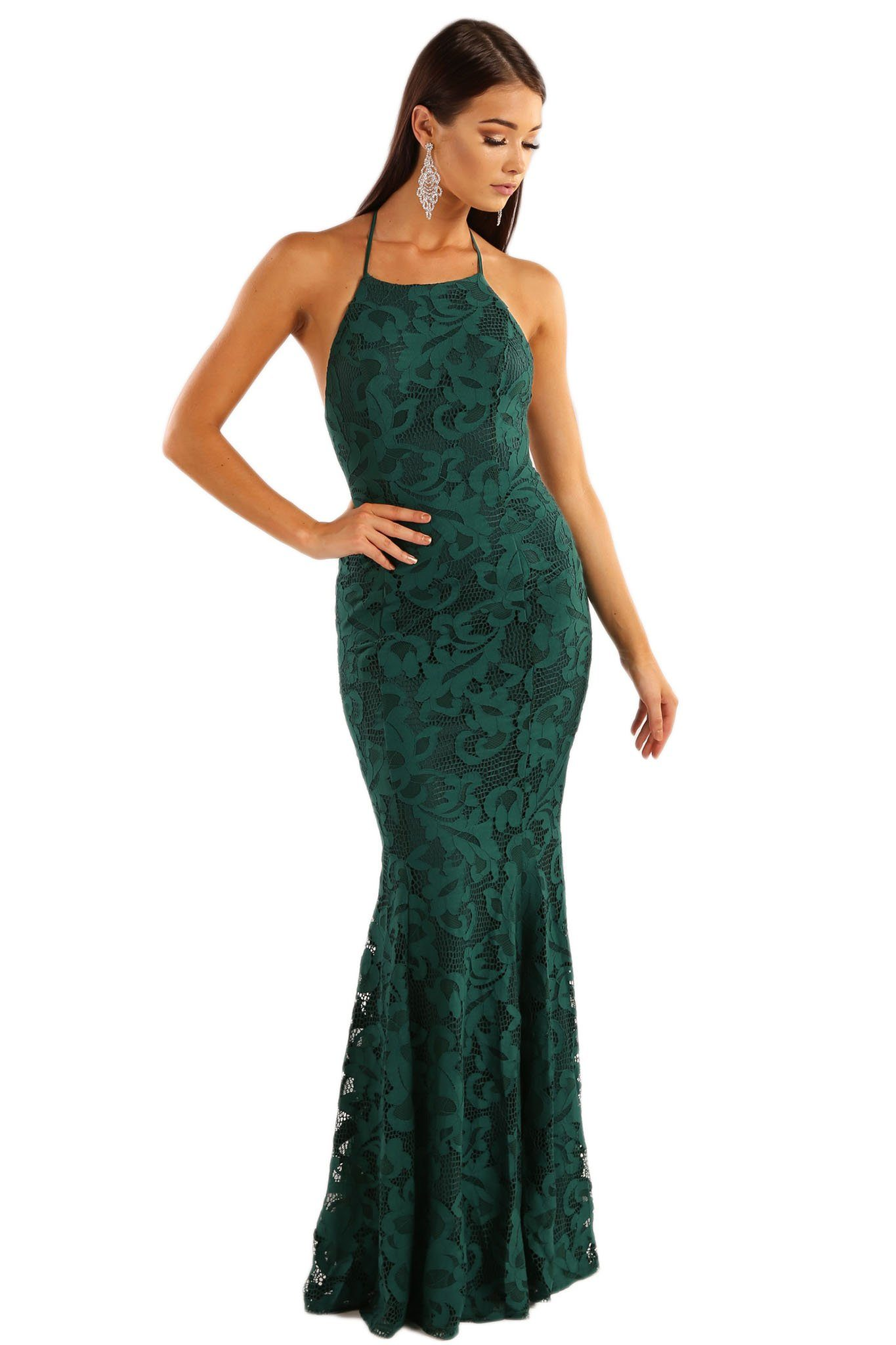 Teal Green lace sleeveless fitted maxi dress with high neckline design, self-tie lace up back strings on exposed back and gently flared skirt