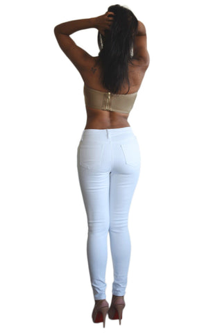 Mid Waist Skinny Jeans Ripped Knees - White