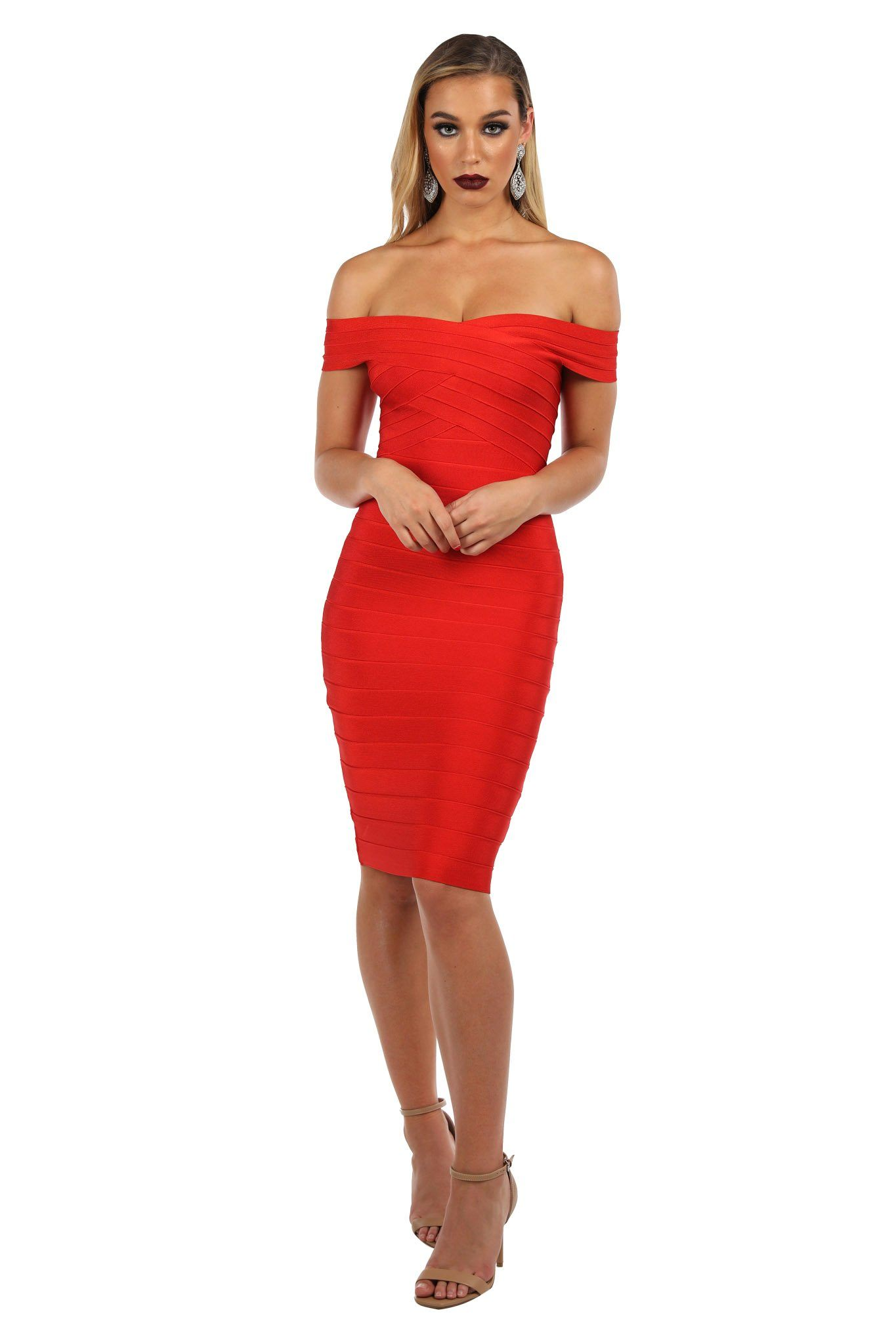 Red fitted bandage dress in knee length featuring strapless off the shoulder design with cap sleeves