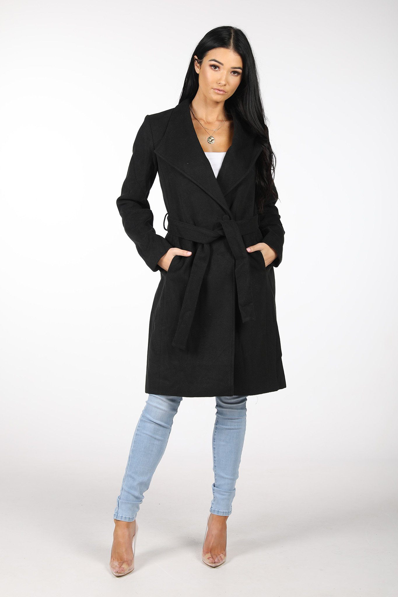 Black Long Wool Blend Wrap Coat with Pockets and Detachable Belt