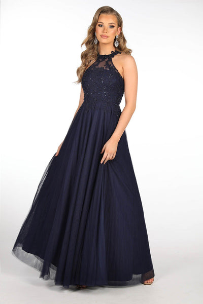 Zaylee Embellished Tulle A-Line Gown in Navy