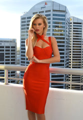 Close up shot of red midi bandage dress featuring halter, turtleneck, sweetheart neck and shoulder straps
