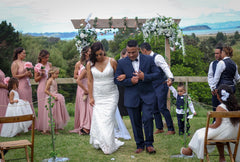 Noodz Boutique customer Debbie wears Fiona Lace Gown on her wedding day