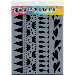 Dylusions Large Stencil 9x12 Heart Border